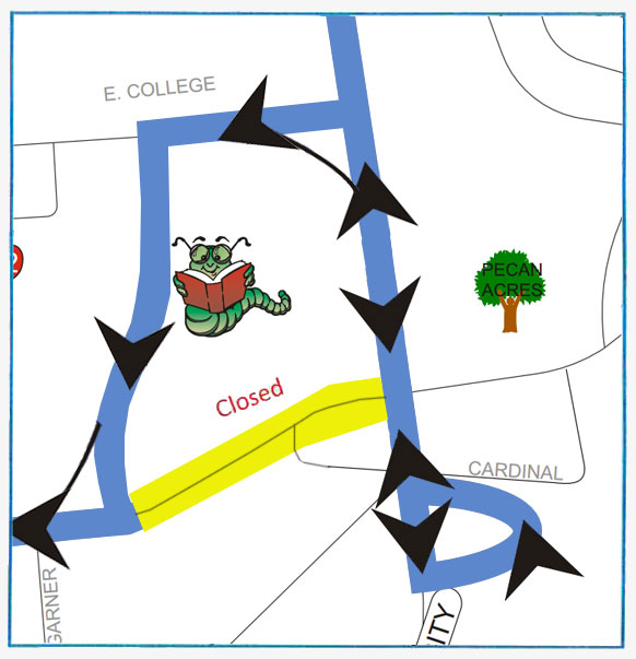 Nacogdoches Blue - Temporary Detour Route (map - E. Starr is closed between University and Wilson due to construction. Detour around closed road: University to E. College to Wilson to E. Starr. 5/25/17 until further notice.)