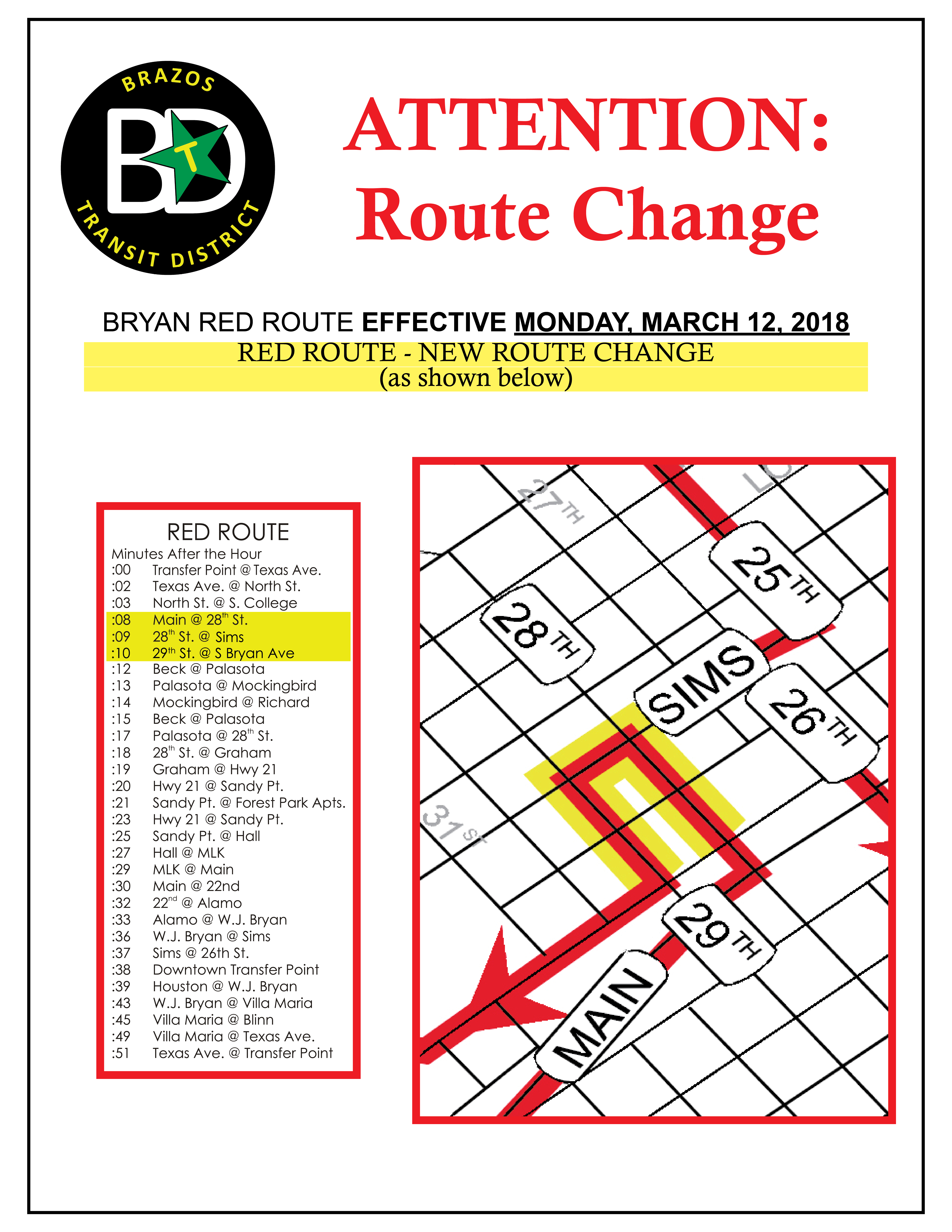 Bryan Red route change MAR 2018