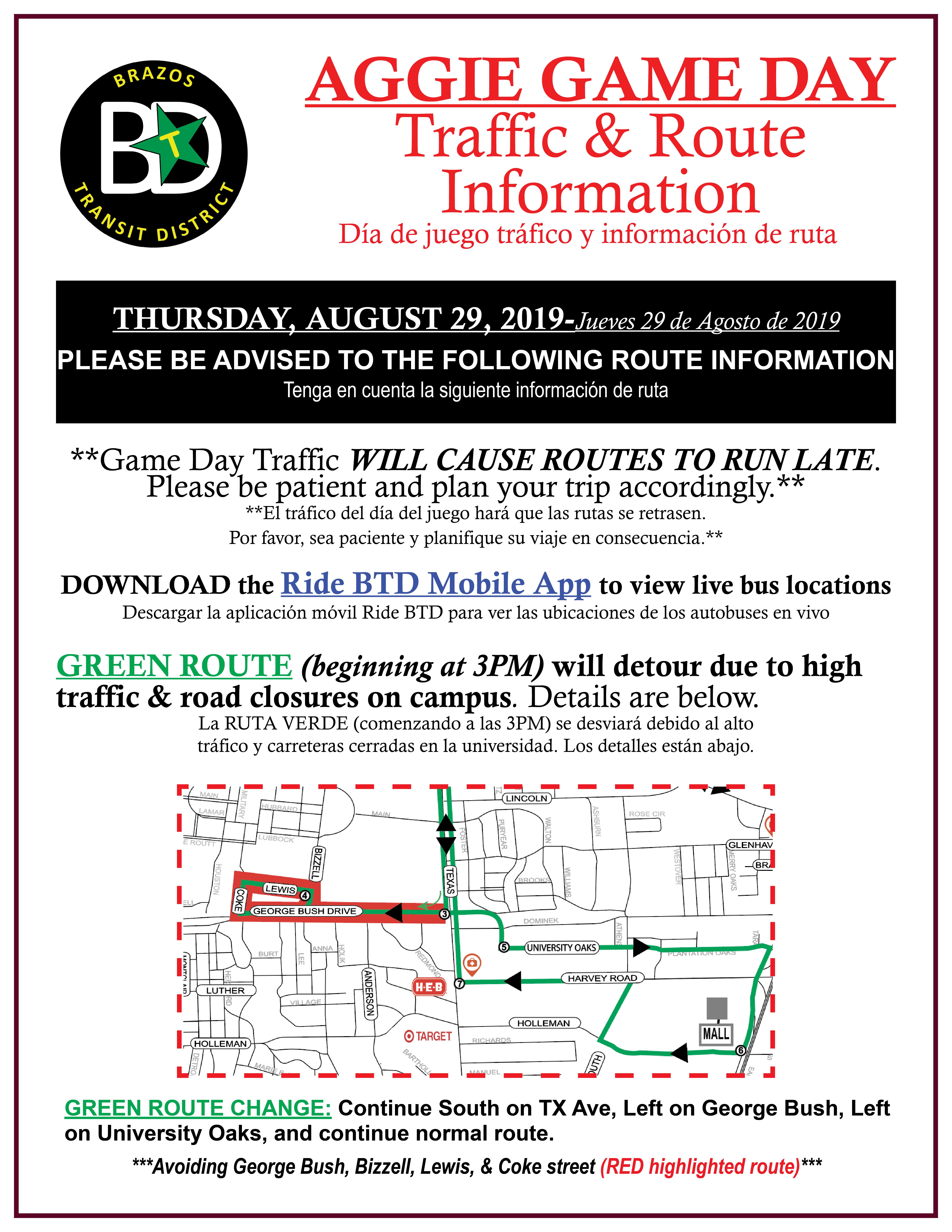 BCS Green Route Detour