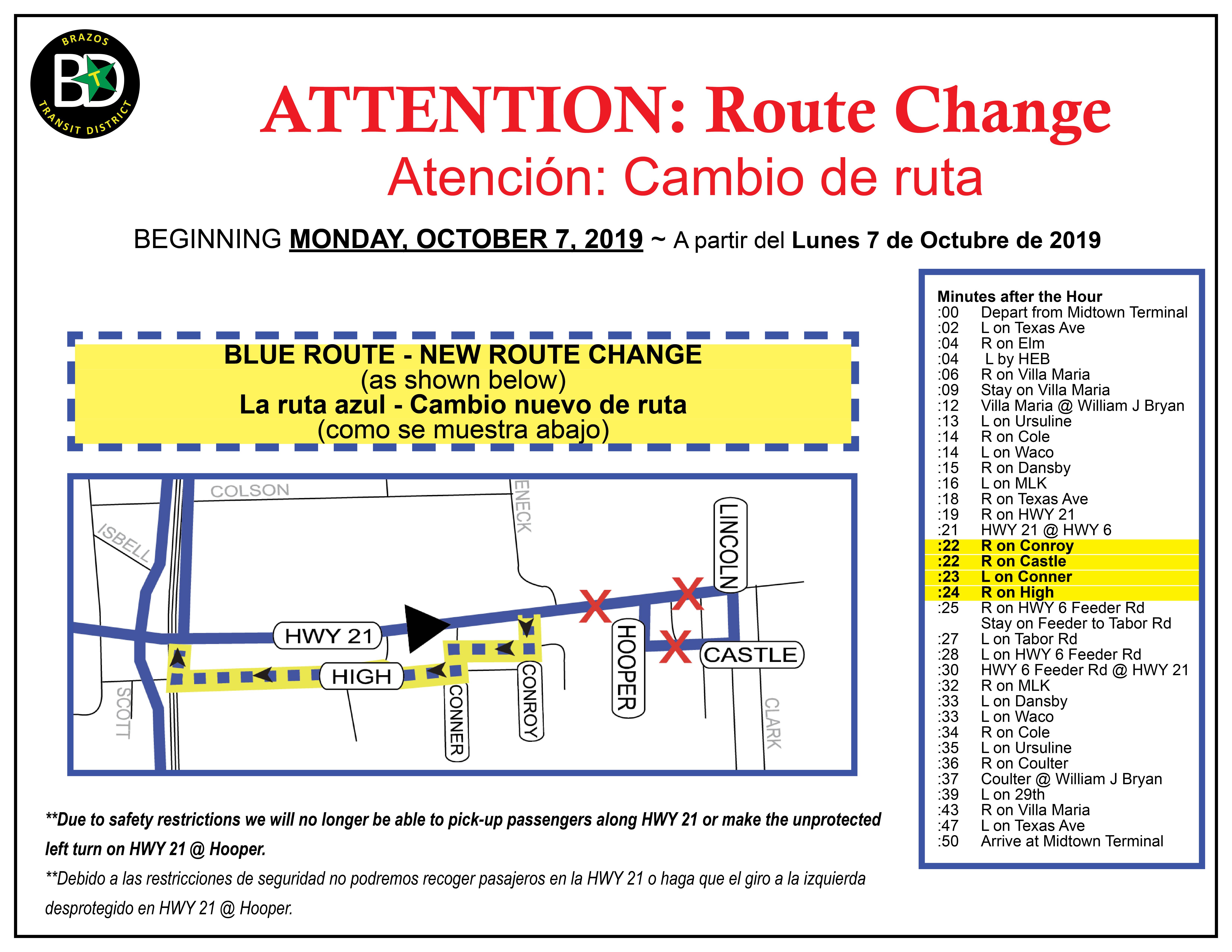 Bryan Blue Route Change